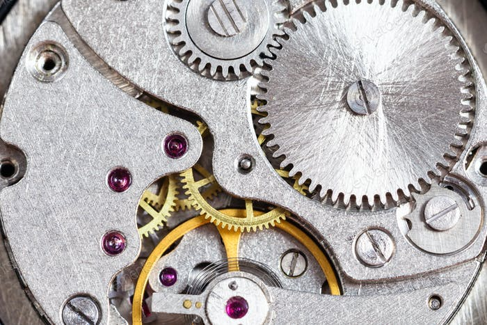 detail of mechanical wristwatch close up