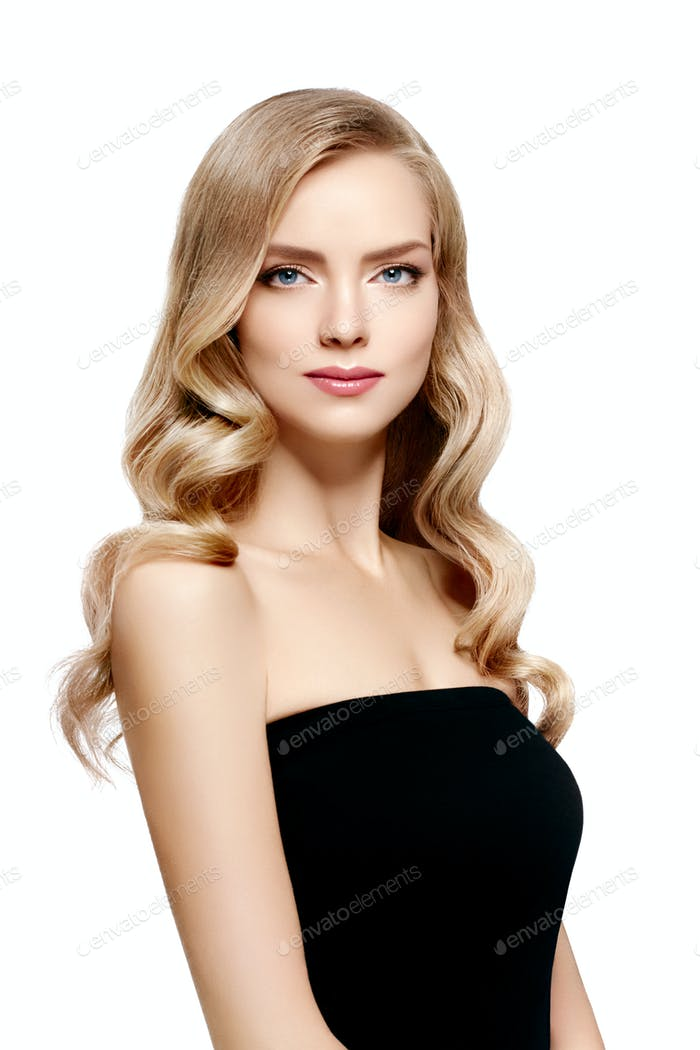 Beautiful blonde girl portrait, woman face with perfect curly hairstyle.