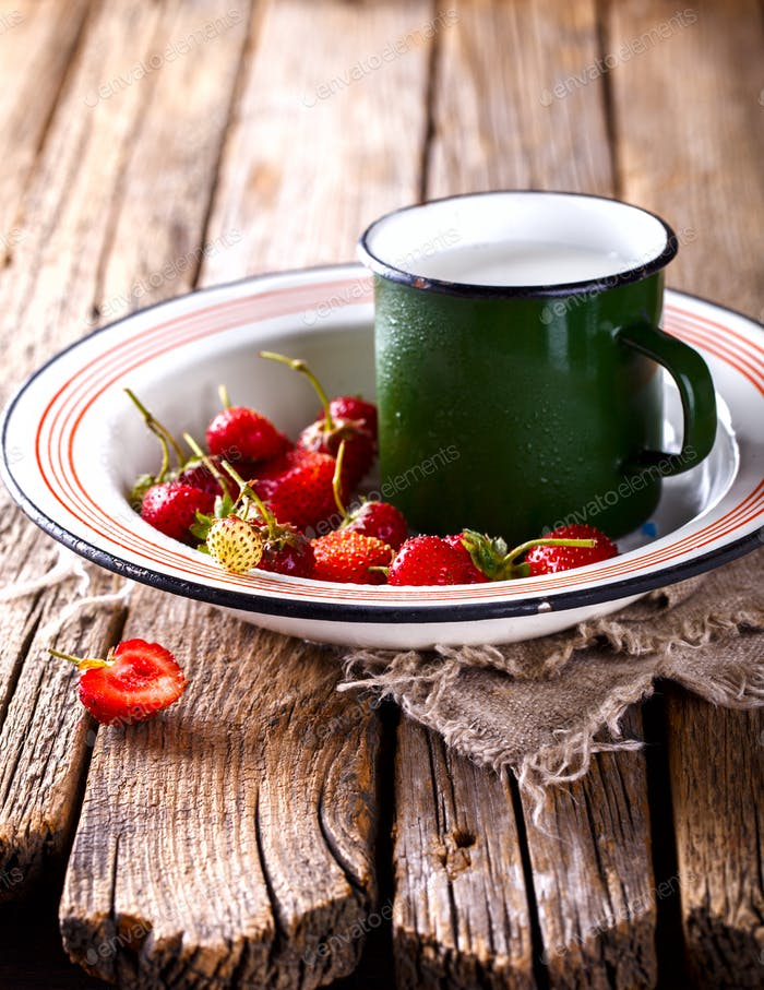 Fresh Strawberries .Food or Healthy diet concept.