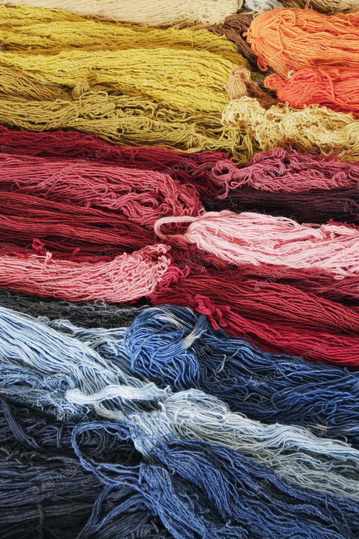 Stacks of Colorful Wool