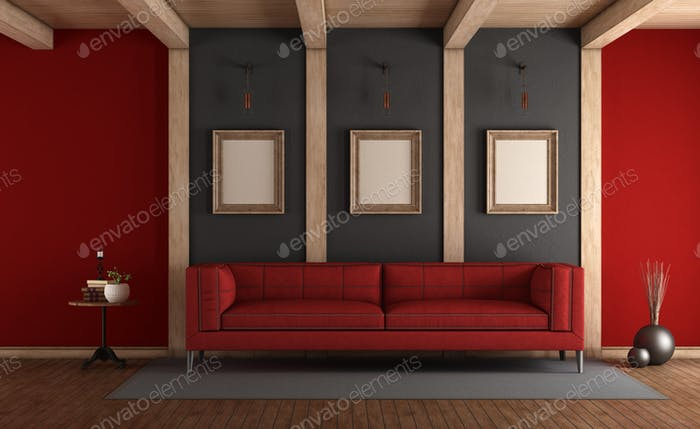 Red and gray elegant living room