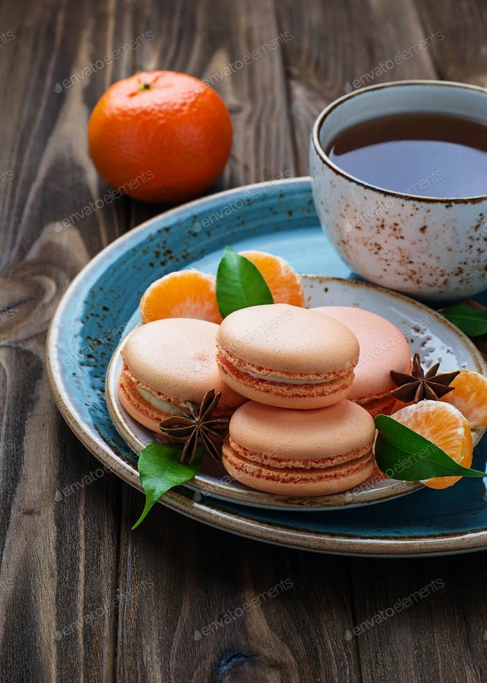 French macaroons with tangerine