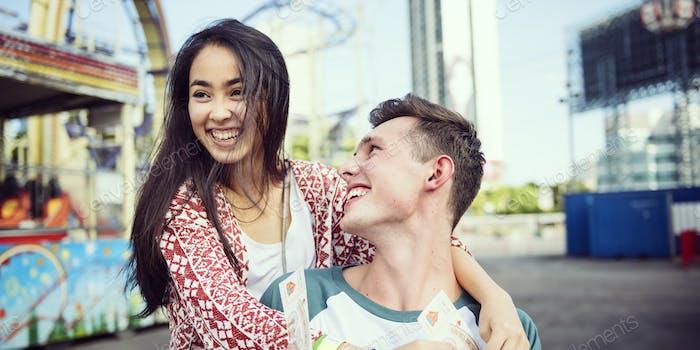Couple Dating Amusement Park Funfair Festive Playful Happiness C