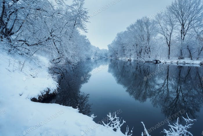Colorful landscape with snowy trees, beautiful frozen river at