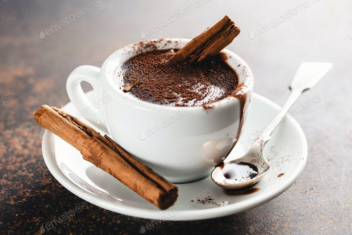 Hot chocolate in cup with cinammon