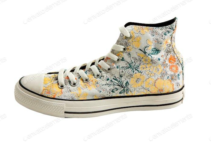 Flowers print sneaker bootie