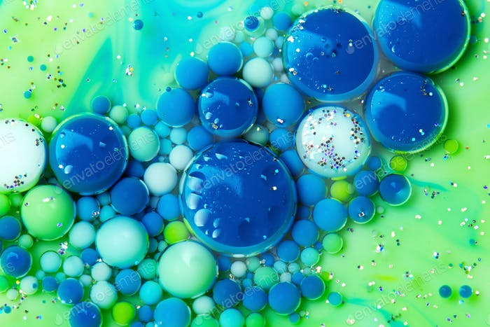 Abstract Blue and Green Background with Bubbles