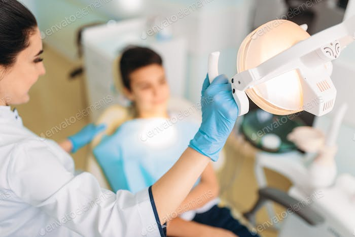 Boy in a dental clinic, pediatric dentistry