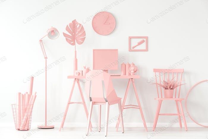 Modern pink home office