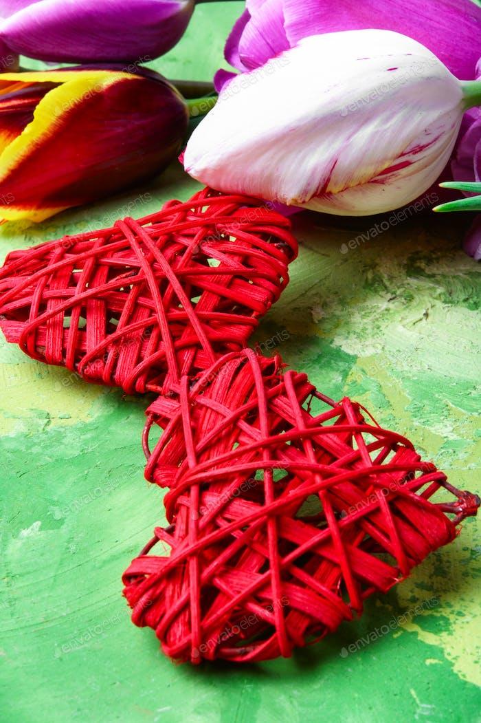 Symbolic hearts and tulips