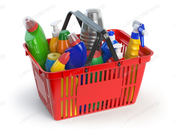 Detergent bottles and cleaning supplies in shopping basket  isol