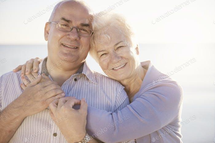 Toothy smile of senior marriage