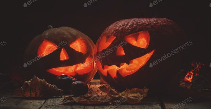Two Halloween pumpkin Jack-o-Lantern