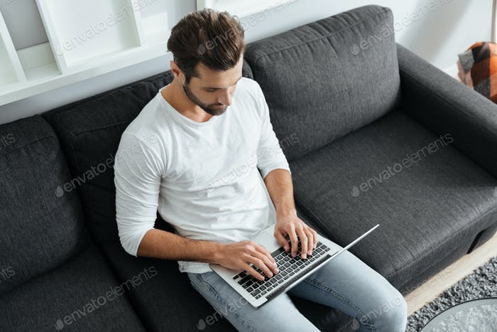 Concentrated young man sitting on sofa using laptop computer