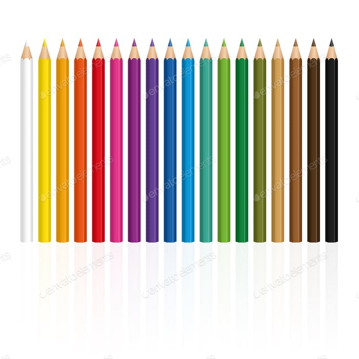 Crayons Set Upright Standing