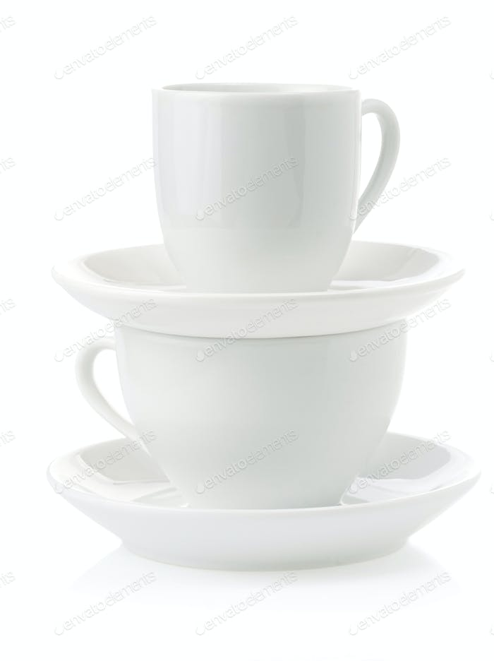 clean cups and saucer