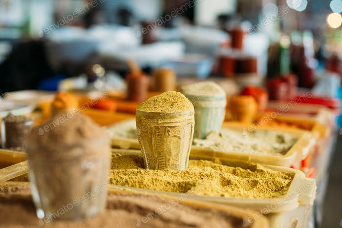 Wide Range Of Multicolored Powdered Fragrant Spices At Showcase