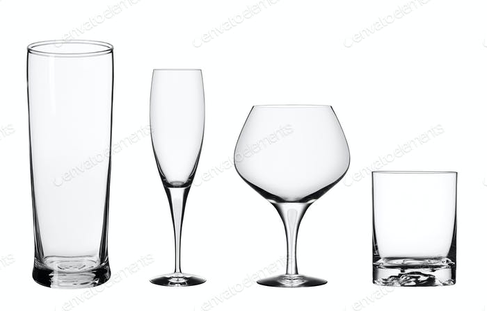 Empty glasses isolated on a white background