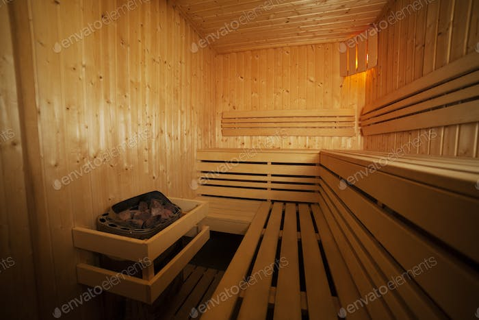 Interior of health wooden spa