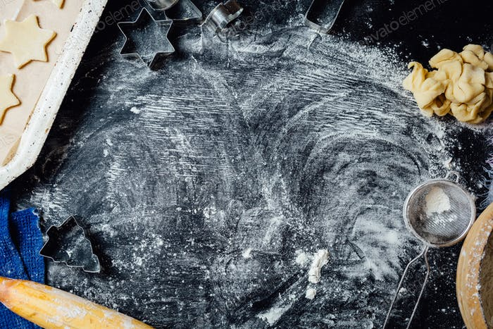 Table covered with flour