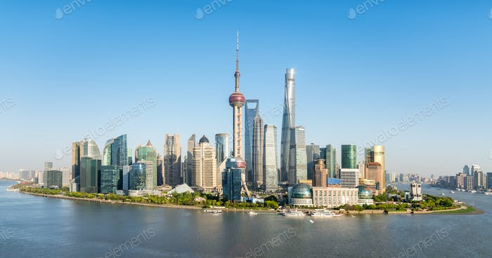panoramic view of pudong skyline, beautiful shanghai cityscape