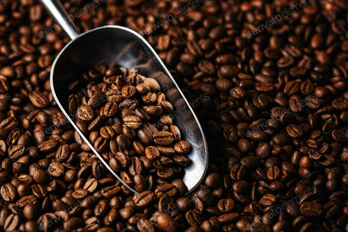 Coffee beans on scoop