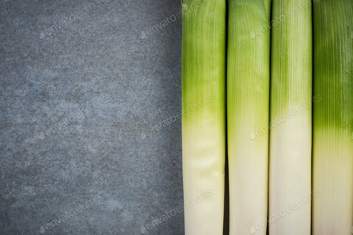 Fresh leek  vegetable, copy space