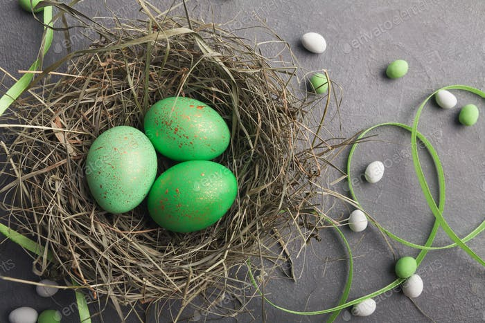 Easter background. Colored eggs in nest on gray stone surface