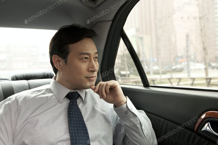 Businessman looking out from the car