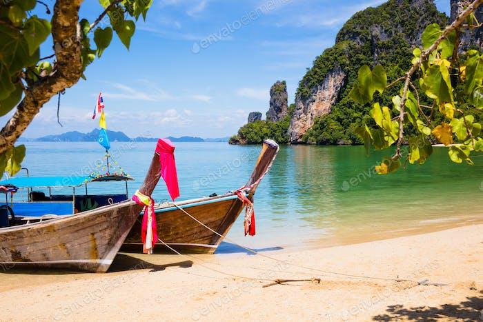 Longtail Boats Moored At Aonang Beach in Thailand