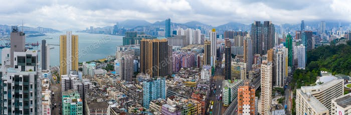 To Kwa Wan, Hong Kong 17 May 2019: Top view of Hong Kong residential district