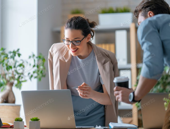 Man and woman are working in office