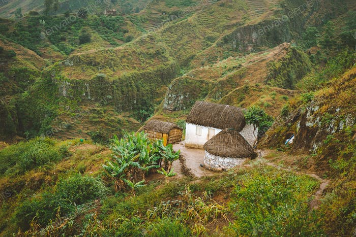 Santo Antao Cape Cabo Verde. Local houses on mountain top on hiking trail in Ribeira de Janela