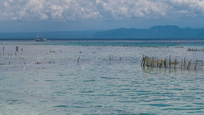 Seaweed plantation farm by Hight Tide in Nusa Penida, Bali in Clouds on Background, Indonesia
