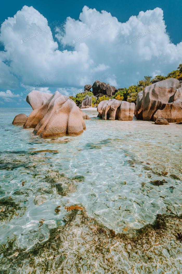 Anse Source d'Argent - Dreamlike, paradise beach with unique bizarre granite boulders, shallow
