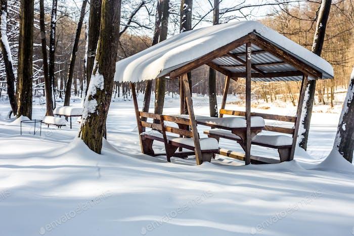 winter gazebo in the woods