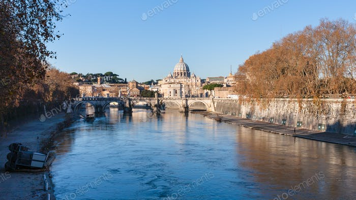 Rome cityscape with bridge and Tiver River