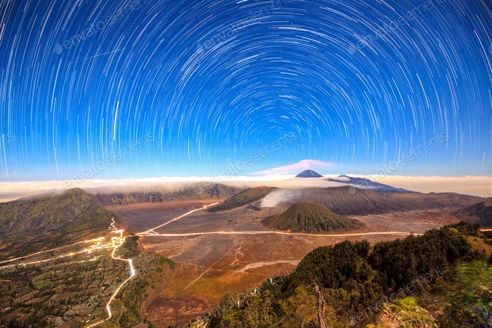 Star trail over Mount Bromo volcano,Tengger Semeru National Park, East Java, Indonesia