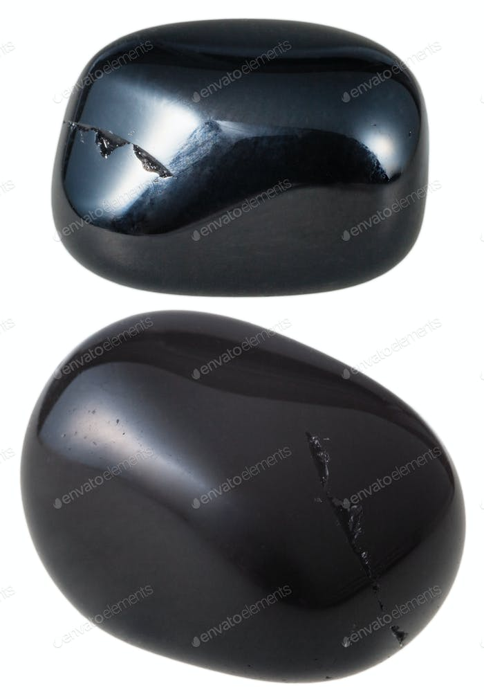 two Black Onyx gemstones isolated