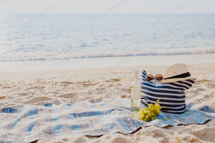 Picnic background with bag, grape and white wine by blue sea