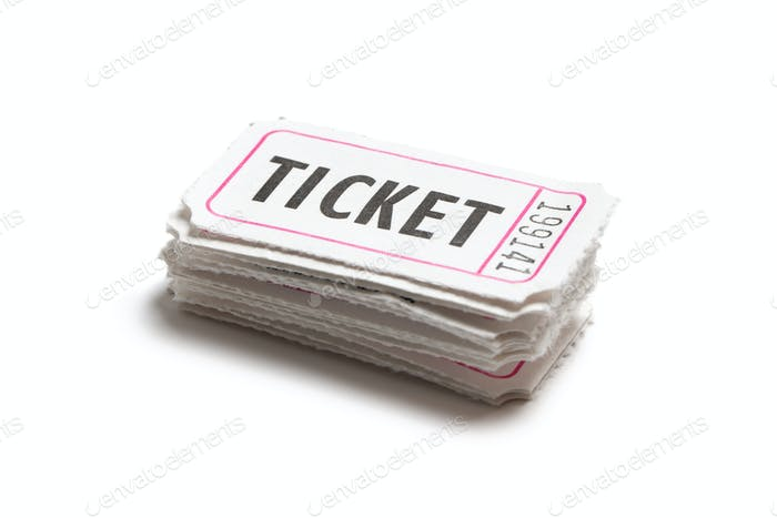 Stack of white color tickets