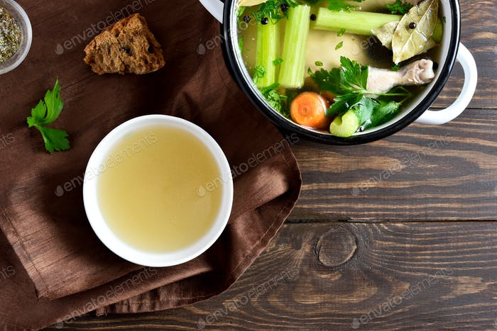 Chicken broth with vegetables and spices