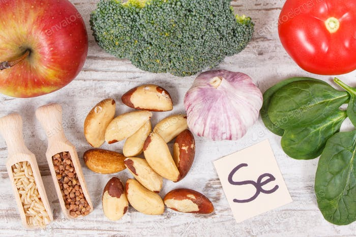 Food containing selenium, vitamins and dietary fiber, healthy nutrition concept