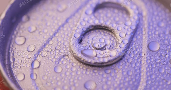 Beer can with water droplet