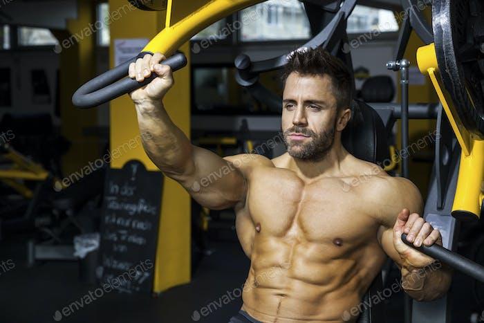 handsome bearded bodybuilding man