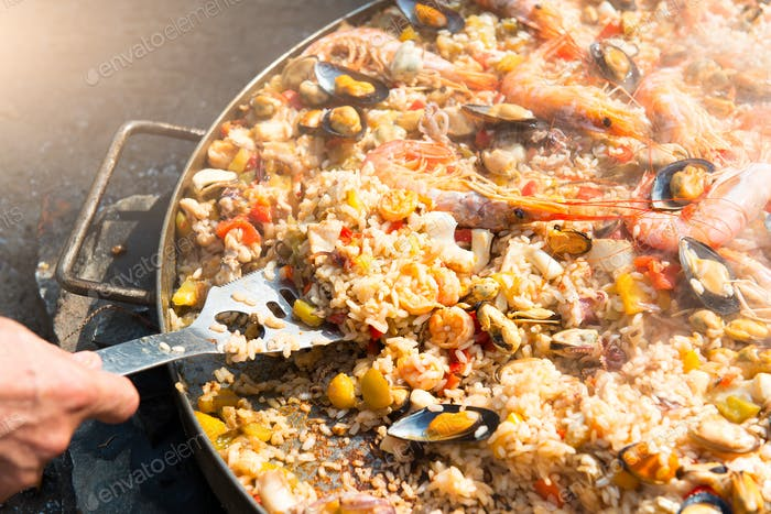 Preparing Paella