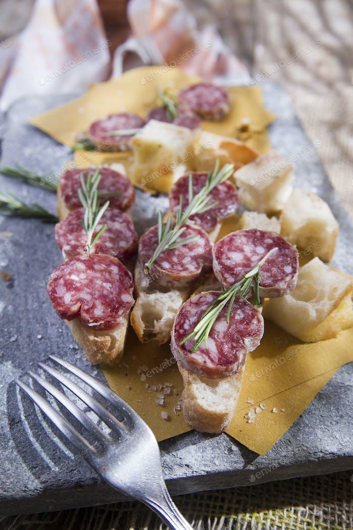 Focaccia and salami