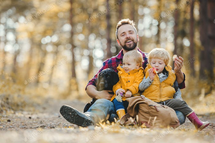 A mature father with toddler children and a dog sitting on the ground in an autumn forest.