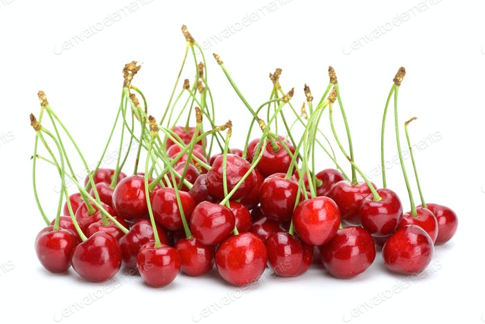 Small pile of red cherries with stalks