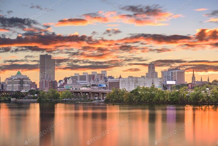 Albany, New York, USA skyline on the Hudson River